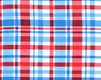 Summer Picnic Watermelon Red and Sky Blue Plaid by Michael Miller - DC7179-WATERMELON-D