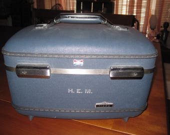 Vintage blue train case American Tourister Tiara collection suitcase