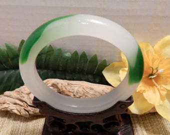 62mm Green Jade Bangle for Jewelry Bracelet Collection Display Investment