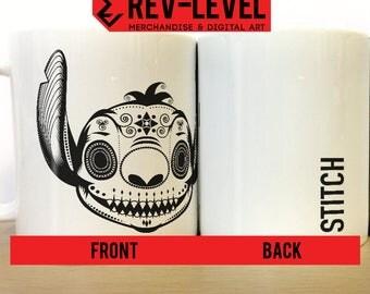 Stitch Day Of The Dead Sugar Skull Mug - Disney's Lilo and Stitch Día de los Muertos Cup by Rev-Level