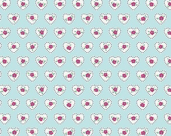 1 Yard Little Dolly by Elea Lutz for Penny Rose Fabrics 6362 Blue Hearts