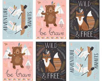 1 Yard  Panel Wild and Free by Abi Hall for Moda- 35310-11 Multi