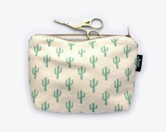 New! Sparkly Cactus Organic Cotton Zip Pouch