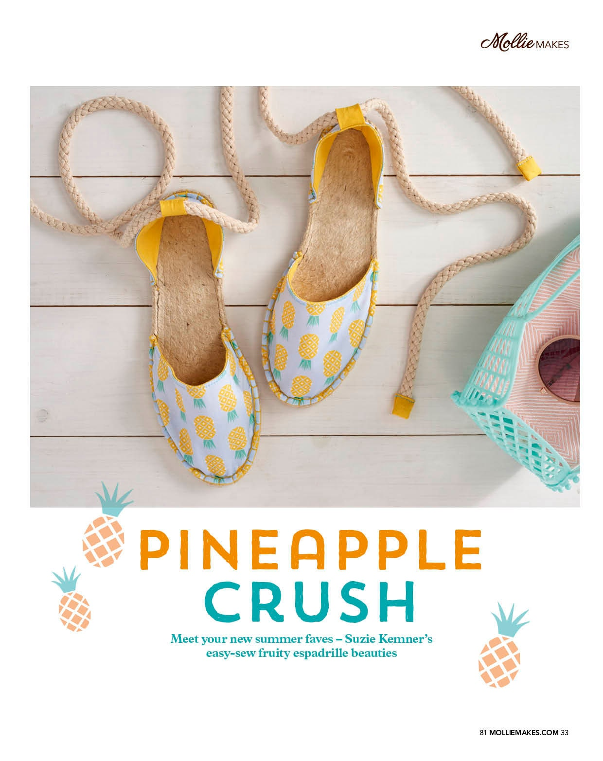 Make your own Suzie London Strappy Pineapple Espadrilles as featured in issue 81 of Mollie Makes magazine