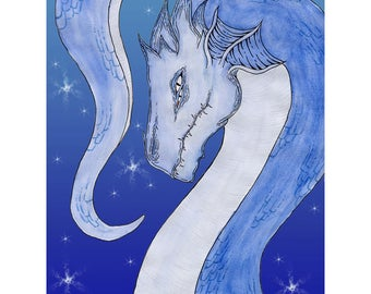 "Dragon Print, ""Aquarto"" 11x14, Blue"