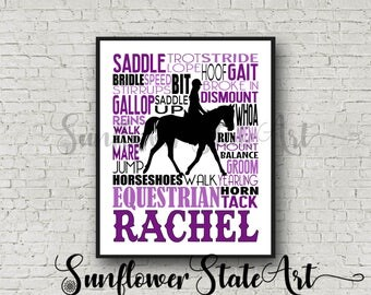 Personalized Equestrian Poster, Gift for Equestrians, Gift for Horse Lovers, Horseback Riding, Horseback Rider, Typography, Equestrian Art