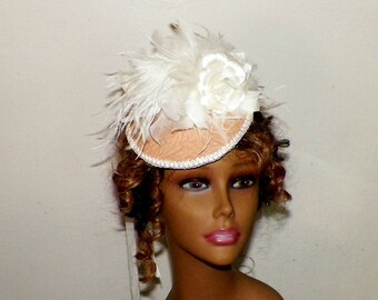 Fascinator Headdress Cream Tan Biege Victorian Hat Ivory Colored Feather Bridal Steampunk Lolita  Headpiece Old West  Marie Antoinette