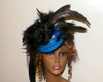 Bird Hat Fascinator Steampunk Headdress Royal Blue Victorian Gothic Marie Antoinette Lolita Costume Headpiece