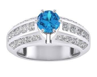 1.78CT Blue Sapphire & White Diamond Ring 14K White Gold