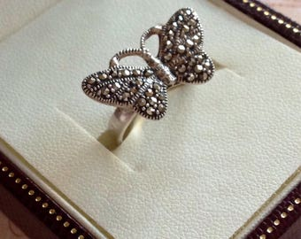 Butterfly Ring Silver Marcasite Silver Butterfly Marcasite Ring Vintage Silver Ring 925 Silver Ring Marcasite Butterfly Butterfly Jewellery