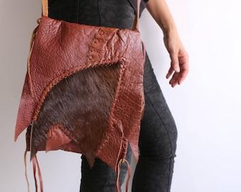 boho brown leather and fur bag