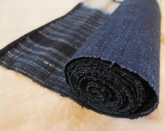 Indigo dyed hemp textile roll