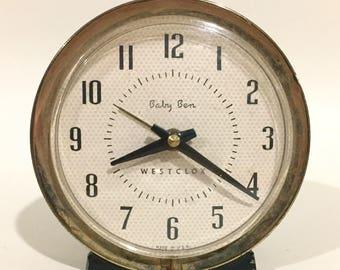Vintage Westclox Baby Ben Wind-Up Metal Alarm Clock, Mid Century 1960s
