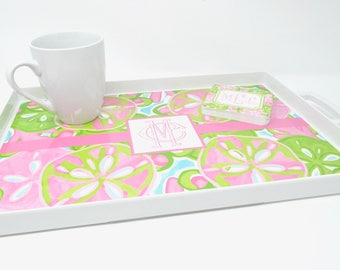 Personalized Monogrammed Melamine Tray with Handles