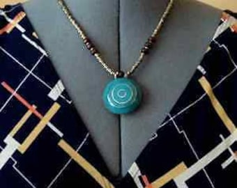 Turquoise Blue Golden Spiral Pendant Necklace Boho Chic Tribal Style Choker