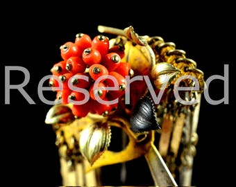 Reserved Reserved Reserved    Antique complicated coral kanzashi - Japanese Antique complicated kanzashi - A