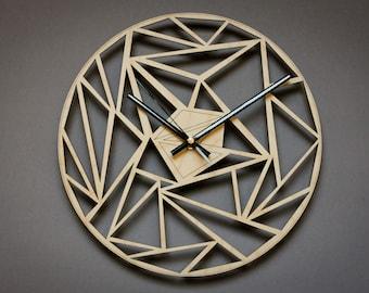 Unique wall clock, Geometric wood clock, Modern clock, Decorative laser cut clocks, Wood wall art, Wooden wall clock, Large wall clock