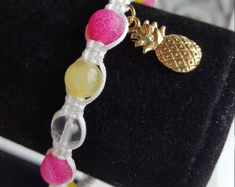 Pineapple Macrame Beaded Bracelet