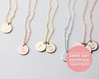Dainty Disc Necklace Monogram Necklace Best selling items Family Tree Personalized Grandmother Jewelry Birthday Gift initial disc - CN