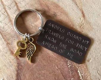 Teen boy keychain bon voyage Gift for travelers Christian keychain guardian angel keychain graduation keychain personalized keychain