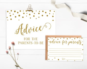 New Parents Advice, Gold Glitter Baby Shower, Advice For New Parents, Gold Confetti Baby Shower Activity, Printable Sign - CG1