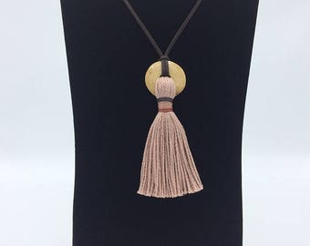 Handmade tassel necklace, OOAK, blush pearl cotton with tea stained bone donut bead