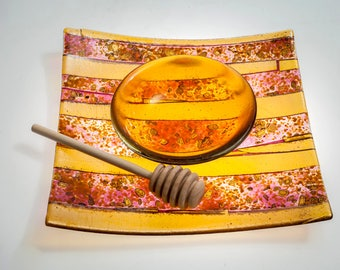 Honey and apple dish set,  amber and fuchsia  serving dish, Rosh Hashana apple dish,  fused glass platter, glass serving tray
