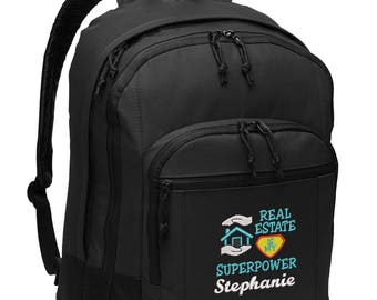 Real Estate is My Superpower Embroidered Personalized Realtor Backpack , EXCLUSIVE DESIGN