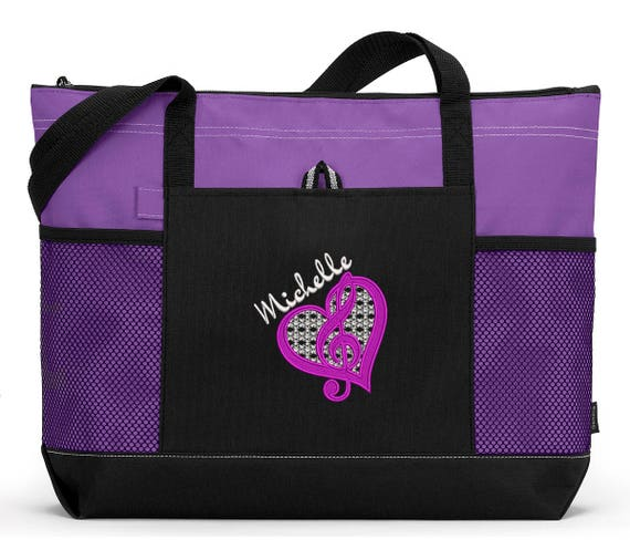 Personalized Music G Clef Music Lover / Music Teacher Zippered Tote Bag With Mesh Pockets, Beach Bag, Boating