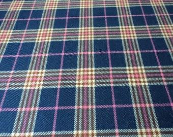 French vintage tartan wool material / fabric 156 cm width x 4.8 metres