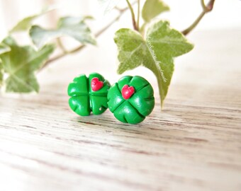 Lucky earrings with clover-ceramic polymer earrings-lobe earrings-handmade earrings-St. Patrick's Day