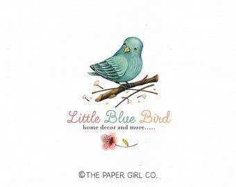 blue bird logo home decor logo photography logo boutique logo etsy shop logo nature logo watercolor logo premade logo baby boutique logo