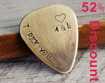 Custom engraved guitar pick, guitar pick, couples initials, I pick you, custom guitar pick, boyfriend, husband, personalized guitar pick