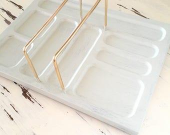 Hand Painted Vintage Dresser Valet, Wooden Jewelry Valet, Men's Grey Wash Dresser Organizer, Gift Idea