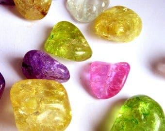 20 Ice Flake Quartz Beads, Healing Crystal Beads, Reiki Beads, Colorful Beads, Neon Beads, Ice Quartz Beads, Flake Quartz Nuggets, 10 - 20mm