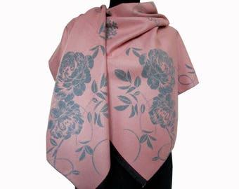 Pink Floral Scarf, Winter Large Pashmina, Beautiful Pink Shawl, Floral Boho Shawl, Women Fall Scarf, Girlfriend Gift, Fashion Shawl