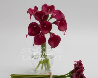 Wine Red Calla Lilies Real Touch Flowers for Bridal Bouquets, Wedding Centerpieces, Home Decoration