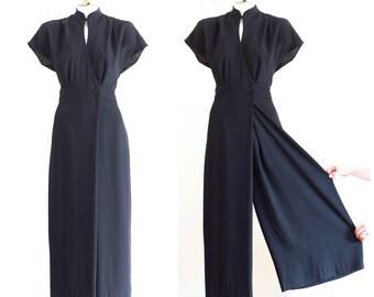 Black palazzo pants jumpsuit with mandarin collar and satin trim