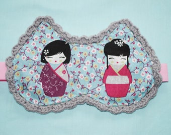 "Sleeping mask ""CATSNIGHT"" fabrics and crochet reversible"