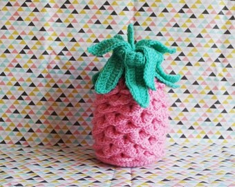 Decorative pink and green pineapple crochet