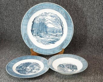 Vintage Royal Currier & Ives Blue 102 Piece China Dinnerware Set c. 1950s