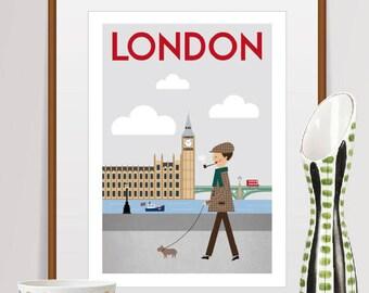 city prints, mid century modern art, travel poster, city Illustration, wall decor, home decor, city poster, london print, city art, travel