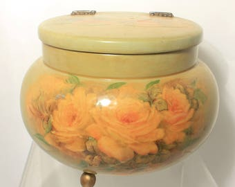 Country Chic Round Decoupage Box in Pastel Olive Green with Hinged Lid