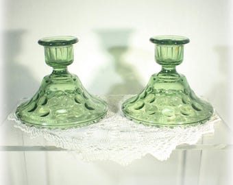 Avocado Green Thrumbprint Candle Holders by Hazel Atlast