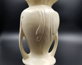 Off White Art Deco Tall Pottery Vase USA