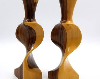 Two Tone Carved Twisted Candlestick Holder