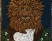 """Custom order for Carolsnotes2u Finished Hooked rug  on linen, lion and lamb 21""""x 27"""" """"Peace"""""""