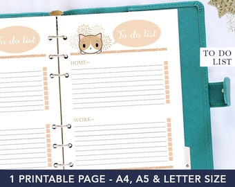 To do list printable, digital planner, home planner inserts, cat planner, agenda to do list, planner refill, a5 planner inserts, pet gift