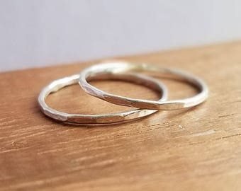 Sterling Silver Faceted Stackable Rings
