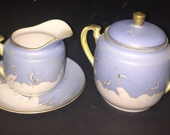 Antique Japanese Porcelain Crane Motif Soft Muted Blue Color Cream Sugar Bowl with Lid Two Saucers One Bread Plate Mitsu-Boshi Japan